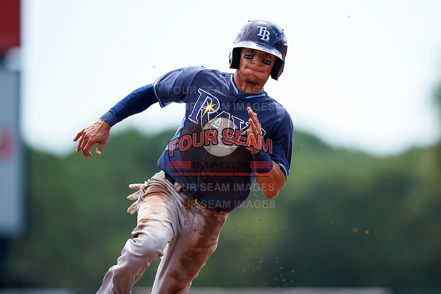 Tampa Bay Rays shortstop Andrew Velazquez (17) during an Instructional League game against the Baltimore Orioles on September 19, 2016 at Ed Smith Stadium in Sarasota, Florida.  (Mike Janes/Four Seam Images)