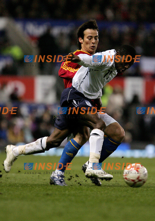 England's Shaun Wright-Phillips against Spain's David Silva during a friendly match at Old Trafford in Manchester, Wednesday February 07, 2007. (INSIDE/ALTERPHOTOS/Alvaro Hernandez).