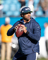 CHARLOTTE, NC - DECEMBER 15: Russell Wilson #3 of the Seattle Seahawks warming up prior to the game during a game between Seattle Seahawks and Carolina Panthers at Bank of America Stadium on December 15, 2019 in Charlotte, North Carolina.
