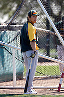Hideki Matsui #55 of the Oakland Athletics participates in spring training workouts at the Athletics complex on February 23, 2011  in Phoenix, Arizona..Photo by:  Bill Mitchell/Four Seam Images.