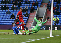 O's Jordan Maguire-Drew scores the equaliser during Oldham Athletic vs Leyton Orient, Sky Bet EFL League 2 Football at Boundary Park on 7th December 2019