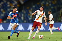 5th July 2020; Stadio San Paolo, Naples, Campania, Italy; Serie A Football, Napoli versus Roma; Jordan Veretout of AS Roma turns away from the challenge of Ruiz