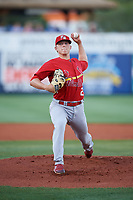 Palm Beach Cardinals starting pitcher Ian Oxnevad (21) delivers a pitch during a game against the Charlotte Stone Crabs on April 21, 2018 at Charlotte Sports Park in Port Charlotte, Florida.  Charlotte defeated Palm Beach 5-2.  (Mike Janes/Four Seam Images)
