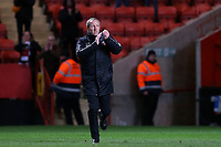 Charlton Manager, Lee Bowyer, who watched the match from the Main Stand due to a touchline ban, runs onto the pitch at the final whistle to applaud the home fans during Charlton Athletic vs Burton Albion, Sky Bet EFL League 1 Football at The Valley on 12th March 2019