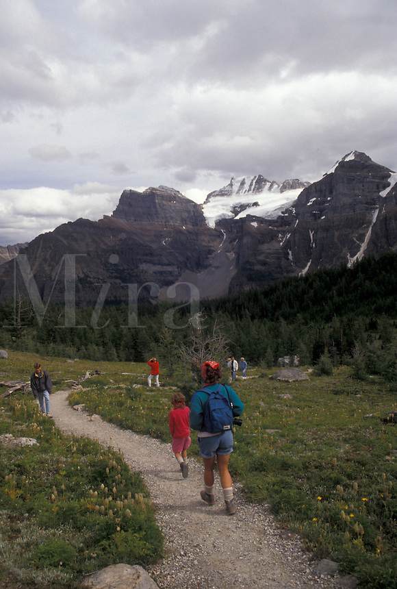 hiking, Banff National Park, Canada, Alberta, Canadian Rockies, People hiking on a trail in Larch Valley in Banff National Park in Alberta.