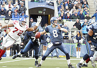 New York Giants defensive end #72 Osi Umenyiora knocked the ball free for Matt Hasselbecks arms just before he could get the pass off  at Quest Field in Seattle, WA.