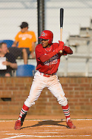 Yunier Castillo #7 of the Johnson City Cardinals at bat versus the Burlington Royals at Howard Johnson Stadium June 27, 2009 in Johnson City, Tennessee. (Photo by Brian Westerholt / Four Seam Images)