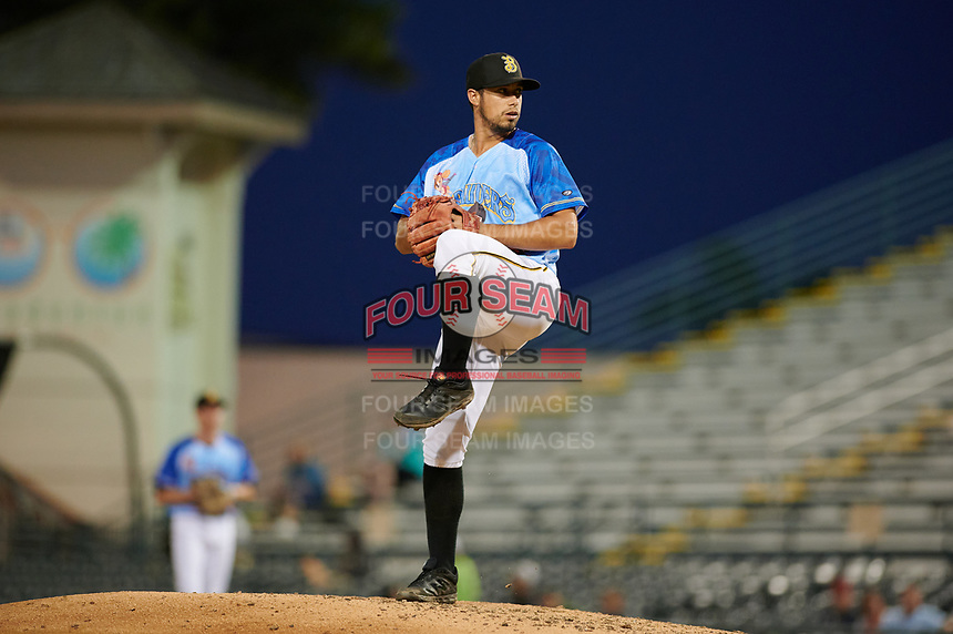Bradenton Marauders relief pitcher Ryan Valdes (54) during a Florida State League game against the Jupiter Hammerheads on April 20, 2019 at LECOM Park in Bradenton, Florida.  Bradenton defeated Jupiter 3-2.  (Mike Janes/Four Seam Images)