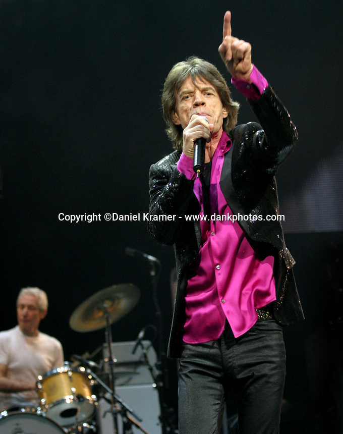Mick Jagger and The Rolling Stones perform at the Toyota Center in Houston, Texas on December 1, 2005.