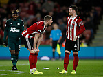 John Lundstram of Sheffield Utd and John Fleck of Sheffield Utd  during the Premier League match at Bramall Lane, Sheffield. Picture date: 5th December 2019. Picture credit should read: Simon Bellis/Sportimage