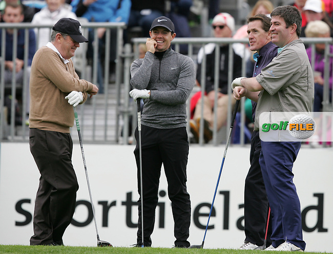 Rory McIlroy (NIR) with JP McManus, Kieran McManus and A P McCoy during Wednesday's Pro-Am ahead of the 2016 Dubai Duty Free Irish Open Hosted by The Rory Foundation which is played at the K Club Golf Resort, Straffan, Co. Kildare, Ireland. 18/05/2016. Picture Golffile | TJ Caffrey.<br /> <br /> All photo usage must display a mandatory copyright credit as: &copy; Golffile | David Lloyd.