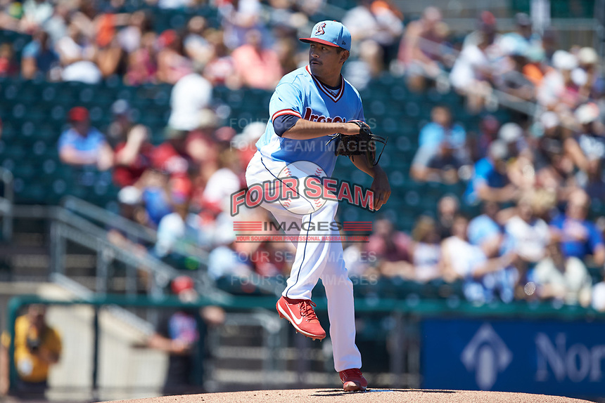 Lehigh Valley Iron Pigs starting pitcher Cesar Ramos (37) in action against the Durham Bulls at Coca-Cola Park on July 30, 2017 in Allentown, Pennsylvania.  The Bulls defeated the IronPigs 8-2.  (Brian Westerholt/Four Seam Images)