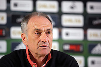 Swansea City FC manager Francesco Guidolin during a press conference he gave, ahead of the game against Liverpool, at the Liberty Stadium, Swansea, Wales, UK. Thursday 28 April 2016