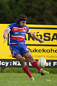 Ray Laulala tries to convert the Taufalelel try. Counties Manukau Premier Club Rugby game between Patumahoe and Ardmore Marist, played at Patumahoe on Saturday July 9th 2016.<br /> Ardmore Marist won the game 33 - 24 after leading 18 - 12 at halftime. Photo by Richard Spranger.