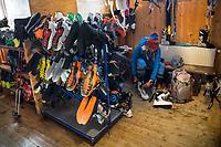Inside the Martin Busch ski room during the Öztal ski tour, Austria