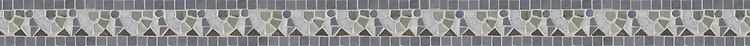 "2 1/2"" Egg & Dart border, a hand-cut stone mosaic, shown in polished Bardiglio, Blue Macauba, Kay's Green, Celeste, and honed Montevideo."