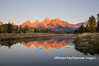 67545-09501 Sunrise at Schwabacher Landing in fall, Grand Teton National Park, WY