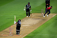 England's Chris Jordan bowls Kane Williamson during the International Twenty20 cricket match between the NZ Black Caps and England at Westpac Stadium in Wellington, New Zealand on Tuesday, 13 February 2018. Photo: Dave Lintott / lintottphoto.co.nz