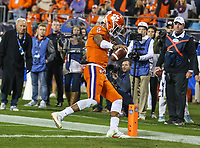 Charlotte, NC - December 2, 2017: Clemson Tigers quarterback Kelly Bryant (2) scores a touchdown during the ACC championship game between Miami and Clemson at Bank of America Stadium in Charlotte, NC. Clemson defeated Miami 38-3 for their third consecutive championship title. (Photo by Elliott Brown/Media Images International)