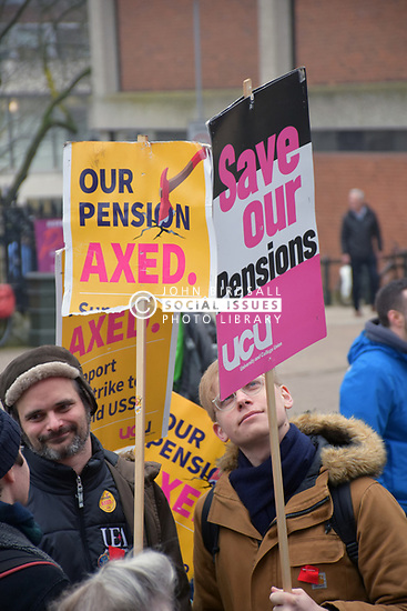 University lecturers ULU members striking in protest at plans to change their pensions from a defined benefit scheme to one where their pensions would be subject to changes in the stock market. Norwich UK 16 March 2018