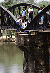 The Bridge on the River Kwai, known to many P.O.W.'s as the bridge of sorrow, attracts thousands of tourists yearly. in Kanchanaburi, Thailand. Over 16,000 allied P.O.W.s died of starvation, maltreatment and disease while building the bridge on the River Kwai and a 250- mile railway from Thailand into Burma. (Jim Bryant Photo)...