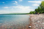 Looking east at the Porcupine Mountains from Little Girl's Point on Lake Superior in Gogebic County