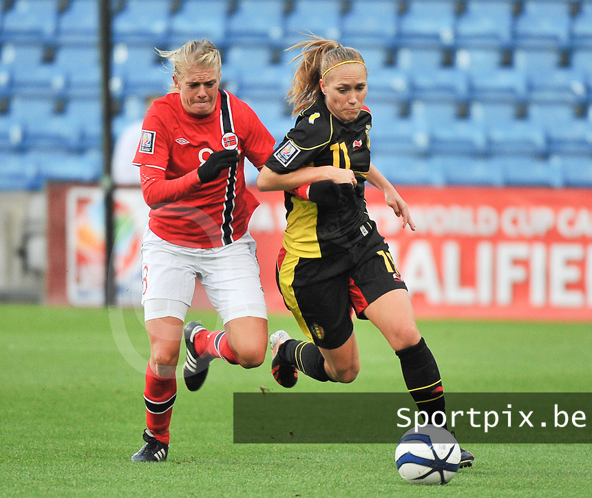 20130925 - OSLO , NORWAY : Belgian Janice Cayman (11) pictured with Norwegian Solveig Gulbrandsen (8)  during the female soccer match between Norway and Belgium , on the second matchday in group 5 of the UEFA qualifying round to the FIFA Women World Cup in Canada 2015 at the Ullevaal Stadion , Oslo . Wednesday 25th September 2013. PHOTO DAVID CATRY