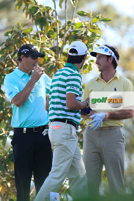 Nicolas Colsaerts (BEL), Matteo Manassero (ITA) and Gonzalo Fdez-Castano (ESP) on the 17th tee during Friday's Round 2 of The Open De Espana at The PGA Catalunya Resort. 16th May 2014.<br /> Picture:  Thos Caffrey / www.golffile.ie