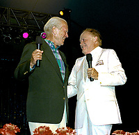 Winston-Salem, North Carolina, USA, May 31, 1991<br /> Bob Hope and Former President Gerald R. Ford on stage at the annual Bill Crosby Clambake Golf Tournament at the Bermuda Run Country Club. Credit: Mark Reinstein/MediaPunch