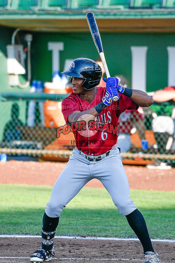 Nick Heath (6) of the Idaho Falls Chukars at bat against the Ogden Raptors in Pioneer League action at Lindquist Field on June 28, 2016 in Ogden, Utah. The Raptors defeated the Chukars 12-11. (Stephen Smith/Four Seam Images)