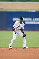 Biloxi Shuckers shortstop Luis Aviles Jr. (11) during a Southern League game against the Montgomery Biscuits on May 8, 2019 at MGM Park in Biloxi, Mississippi.  Biloxi defeated Montgomery 4-2.  (Mike Janes/Four Seam Images)