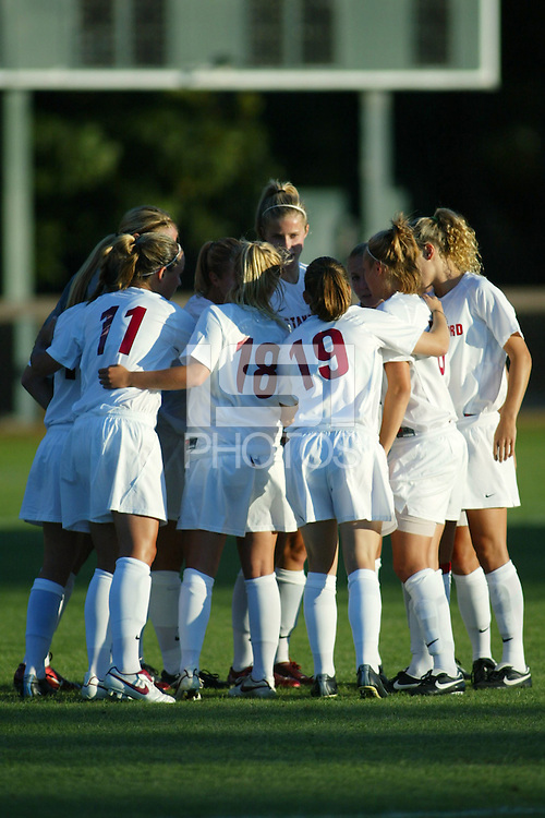 22 August 2005: Martha West, Shari Summer, Leah Tapscott, and Allison Falk during a scrimmage against UC Davis at Maloney Field in Stanford, CA.