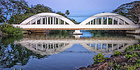 """""""Rainbow Bridge"""", as it is commonly called, was built in 1921 and crosses 161 feet over Anahulu Stream, next to Haleiwa Harbor. At 12 miles, Anahulu Stream is the longest watercourse on Oahu."""