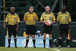24 September 2015: Match Officials. From left: Assistant Referee David McPhun, Fourth Official Justin Finger, Referee Jeff Rousseau, Assistant Referee Clive Edwards. The University of North Carolina Tar Heels hosted the Syracuse University Orange at Fetzer Field in Chapel Hill, NC in a 2015 NCAA Division I Women's Soccer game. UNC won the game 3-1.