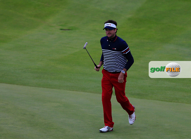 Bubba Watson (USA) on the 16th green during the Sunday Singles Matches at the 2014 Ryder Cup at Gleneagles. The 40th Ryder Cup is being played over the PGA Centenary Course at The Gleneagles Hotel, Perthshire from 26th to 28th September 2014.<br /> Picture:  Thos Caffrey / www.golffile.ie