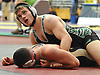 Alex Pavlock of Farmingdale, top, battles Nick Coppola of Wantagh at 182 pounds during the Nassau County Division 1 wrestling quarterfinals at Hofstra University on Saturday, Feb. 13, 2016. Pavlock won the match by decision 8-4.