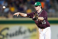 Mississippi State second baseman Matthew Britton #15 AAA throws the ball to first base against the LSU Tigers during the NCAA baseball game on March 17, 2012 at Alex Box Stadium in Baton Rouge, Louisiana. The 10th-ranked LSU Tigers beat #21 Mississippi State, 4-3. (Andrew Woolley / Four Seam Images).