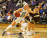 SIOUX FALLS, SD - NOVEMBER 25: Jacey Huinker #23 from the University of Sioux Falls drives to the basket against Southwest Minnesota State University during their game Saturday evening at the Stewart Center in Sioux Falls. (Photo by Dave Eggen/Inertia)