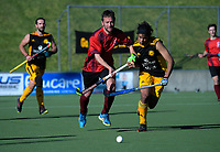 Action from the Wellington premier men's hockey final between Dalefield and Hutt at The National Hockey Stadium, Wellington, New Zealand on Saturday, 11 August 2018. Photo: Dave Lintott / lintottphoto.co.nz