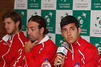 MEDELLIN - COLOMBIA - 05-04-2017: Nicolas Jarry, jugador del equipo de Chile, durante rueda de prensa en la presentación de una de las dos confrontaciones de la ronda final del Grupo I de la Zona Americana de la Copa Davis por BNP Paribas. / Nicolas Jarry, player of the Chilean team during a press conference in the presentation of one of the two confrontations of the final round of Group I of the American Zone Cup Davis by BNP Paribas. / Photo: VizzorImage / Leon Monsalve / Cont.