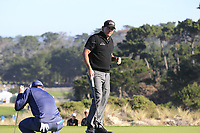Phil Mickelson (USA) sinks his birdie putt on the 2nd green during Thursday's Round 1 of the 2018 AT&amp;T Pebble Beach Pro-Am, held over 3 courses Pebble Beach, Spyglass Hill and Monterey, California, USA. 8th February 2018.<br /> Picture: Eoin Clarke | Golffile<br /> <br /> <br /> All photos usage must carry mandatory copyright credit (&copy; Golffile | Eoin Clarke)