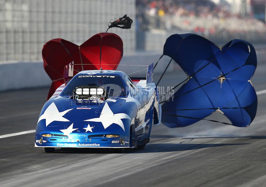 Feb 13, 2016; Pomona, CA, USA; NHRA top alcohol funny car driver Bret Williamson during qualifying for the Winternationals at Auto Club Raceway at Pomona. Mandatory Credit: Mark J. Rebilas-USA TODAY Sports