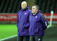 Pictured: Swansea coaches Cameron Toshack and Gary Richards Tuesday 28 February 2017<br /> Re: Premier League International Cup, Swansea City U23 v Hertha Berlin II at at the Liberty Stadium, Swansea, UK