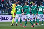 13.04.2019, Weser Stadion, Bremen, GER, 1.FBL, Werder Bremen vs SC Freiburg, <br /> <br /> DFL REGULATIONS PROHIBIT ANY USE OF PHOTOGRAPHS AS IMAGE SEQUENCES AND/OR QUASI-VIDEO.<br /> <br />  im Bild<br /> <br /> verletzungsbedingte Auswechslung <br /> Stefanos Kapino (Werder Bremen #27) f&uuml;r Jiri Pavlenka (Werder Bremen #01)<br />  Milos Veljkovic (Werder Bremen #13)<br /> <br /> Foto &copy; nordphoto / Kokenge