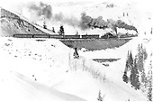 Eastbound San Juan climbing to Cumbres with 5 car train of RPO, baggage car and 3 coaches.<br /> D&amp;RGW  Coxo area, CO