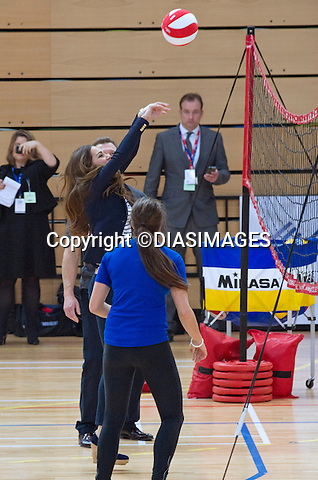 CATHERINE, DUCHESS OF CAMBRIDGE<br /> Patron of SportsAid attended a SportsAid Athlete Workshop at the Copper Box, Queen Elizabeth Olympic Park, London_18/10/2013<br /> Kate participated in the volleyball activity during her visit, exposing her slim post baby figure.<br /> This was the her first solo public engagement since the birth of Prince George in July.<br /> Mandatory Credit Photo: &copy;Dias/DIASIMAGES<br /> <br /> **ALL FEES PAYABLE TO: &quot;NEWSPIX INTERNATIONAL&quot;**<br /> <br /> IMMEDIATE CONFIRMATION OF USAGE REQUIRED:<br /> Newspix International, 31 Chinnery Hill, Bishop's Stortford, ENGLAND CM23 3PS<br /> Tel:+441279 324672  ; Fax: +441279656877<br /> Mobile:  07775681153<br /> e-mail: info@newspixinternational.co.uk