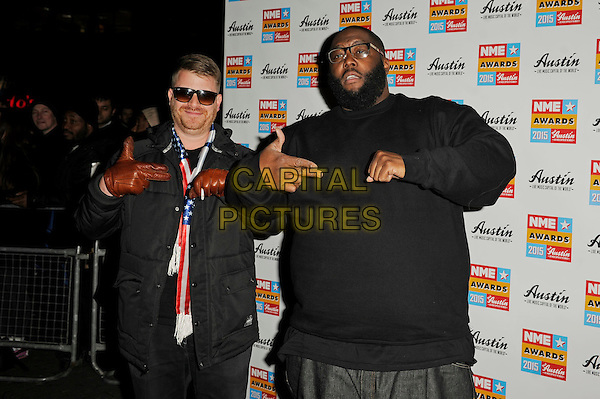 LONDON, ENGLAND - FEBRUARY 18: Run The Jewels attending the NME Awards at Brixton Academy on February 18 2015 in London, England.<br /> CAP/MAR<br /> &copy; Martin Harris/Capital Pictures