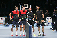 17th November 2019; O2 Arena, London, England; Nitto ATP Tennis Finals; Pierre-Hugues Herbert (FRA) and Nicolas Mahut (FRA) pose for the Doubles Final match with Raven Klaasen (RSA) and Michael Venus (NZL) - Editorial Use