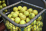 RALEIGH, NC - MAY 07: A basket of softballs in the home team bullpen. The North Carolina State University Wolfpack hosted the University of Louisville Cardinals on May 7, 2017, at Dail Softball Stadium in Raleigh, NC in a Division I College Softball game. Louisville won the game 7-0.