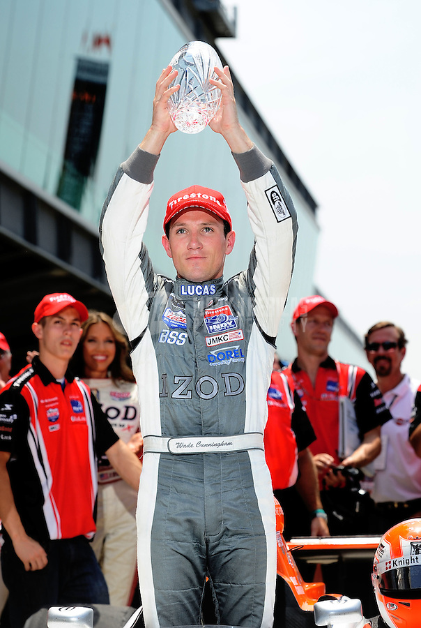 May 28, 2010; Indianapolis, IN, USA; Indy Light Series driver Wade Cunningham celebrates in victory lane after winning the Freedom 100 at the Indianapolis Motor Speedway. Mandatory Credit: Mark J. Rebilas-